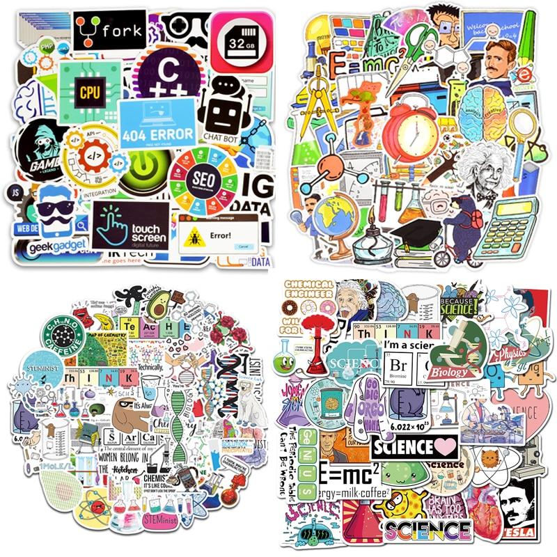 50 шт. Стикеры для научных экспериментов по химическому программированию, стикеры «сделай сам» для ноутбука, ПК, телефона, чемодана, канцеляр...