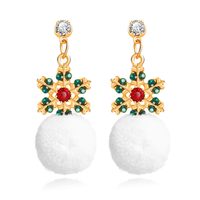 2020 New Years Christmas <font><b>Plush</b></font> <font><b>Snowball</b></font> Earrings Ear Jewelry Creative Snowflake Earrings Exquisite Gift image