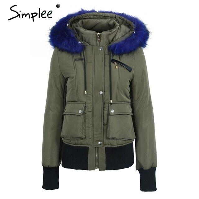 Simplee Hood padded parka winter jacket women coat Fur warm pocket zipper winter overcoat Snow wear thick jacket coat female 10