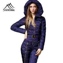 SAENSHING цельный лыжный костюм Wmen зимняя теплая водонепроницаемая куртка+ штаны Теплый Сноуборд комбинезон женский дышащий Тонкий комплект