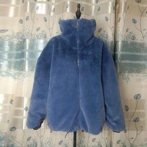 Image 5 - אופנה מותג פלאפי גדול צווארון פו פרווה מעיל נשי עבה חם שועל פרווה חזיית רוכסן תפרים מעיל עם שרוך