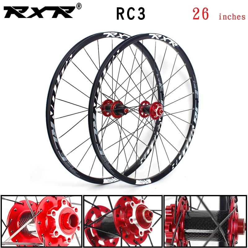 Rxr mountain bike fora da estrada mtb bicicleta de carbono rodado 26 polegadas rc3 freio a disco 5 rolamentos 7-11speed através do eixo/qr roda de bicicleta