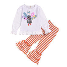 Girls Clothes Toddler Kids Baby Girls Thanksgiving Turkey Tops+Striped Bell-bottoms Pants Set roupa infantil(China)