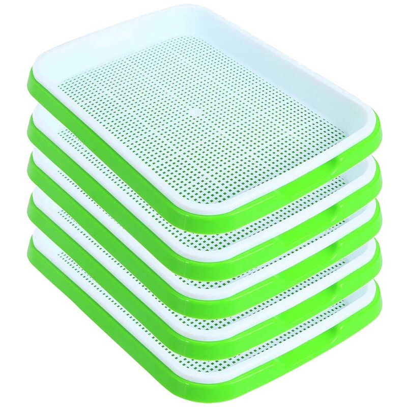 Seed Sprouter Tray 5 Pack, BPa Free Nursery Tray Seed Germination Tray Healthy Wheatgrass Seeds Grower & Storage Trays for Garde