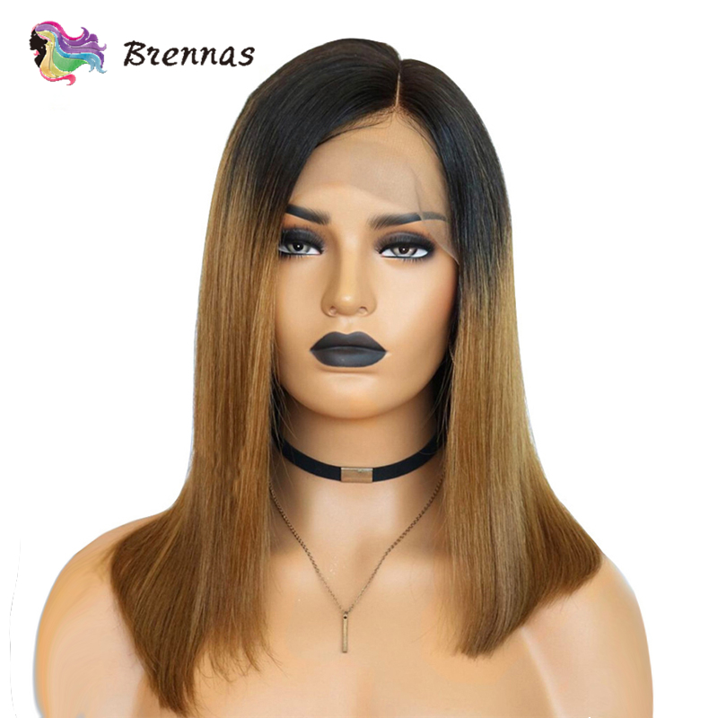 Brennas Bob Lace Front Human Hair Wigs Brazilian Remy Hair Straight Bob Wig Side Part 13X4 Lace Wig Ombre 1b27 Brown 150%Density