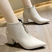 YOUYEDIAN Autumn Winter Boots women Camel Black Ankle Boots For Women Thick Heel Slip On Ladies Shoes Boots Bota Feminina#A3(China)