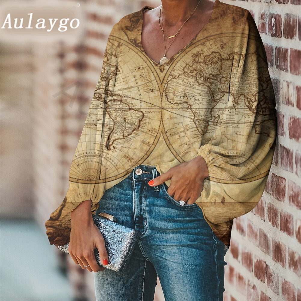 Aulaygo Hot Selling Women Summer Blouse World Map Printing V-Neck Long Sleeve Tops for Party Office Lady Loose Shirt Blusas 2020