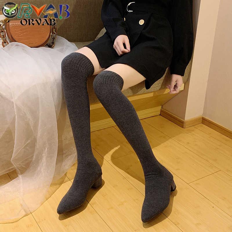 Sok Lange Laarzen Herfst Winter Nieuwe Mode Slip-On Sok Schoenen Vrouw Over De Knie Laarzen Puntschoen Dij hoge Laarzen Dames Slanke