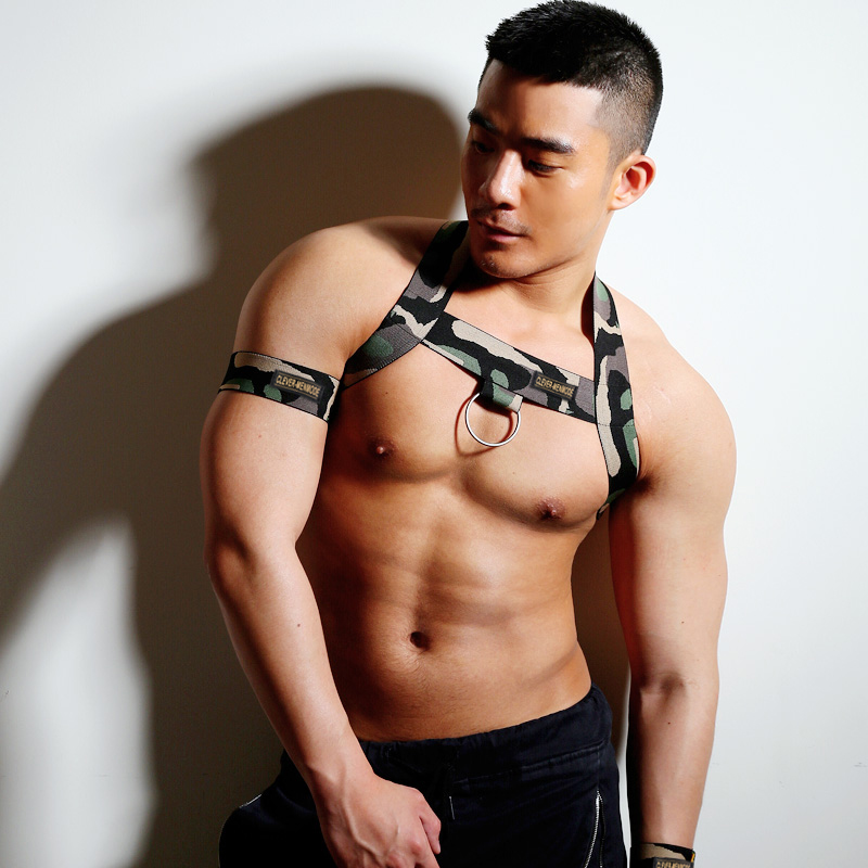 New Style Men Camouflage Halter Chest Harness Fetish Bondage Sexy Clubwear Shoulder Lingerie Elastic Strap With 2 Bands