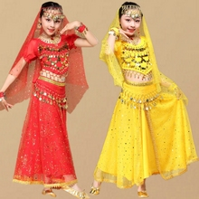 Chiffon Indian Dance Clothing Children Oriental Performance Set for Sta