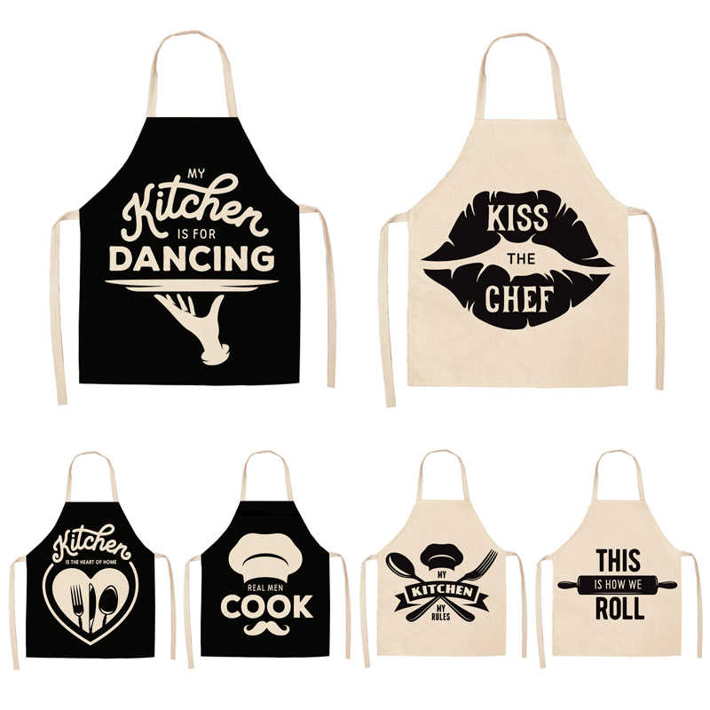 Parent-child Kitchen Apron Black and White Kitchenware Printed Sleeveless Cotton Linen Aprons for Men Women Home Cleaning Tools