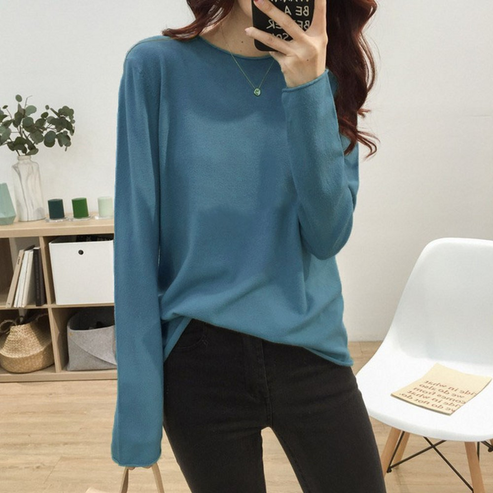Cashmere Sweater Women's O-neck Wool Pullover Long Sleeve Slim Knitted Solid Color Tops Ladies Bottoming Sweater