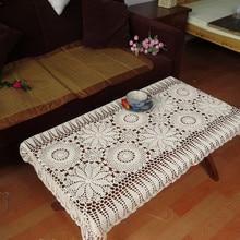 Mantel de ganchillo hecho a mano de algodón blanco Beige, cubierta de Piano, cubierta cuadrada de Piano, ropa de mesa de ganchillo Vintage desgastado