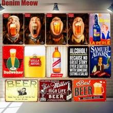 Alcohol Plaque Wine Vintage Metal Tin Sign Miller Mezcal Poster Pub Bar Club Decor Cold Beer Advertising Wall Art N295