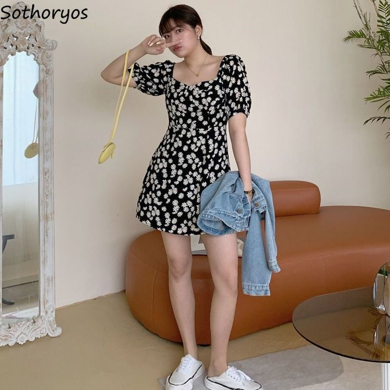 Dress Lantern Sleeve Summer Plus Size 3XL Daisy Printed A-line Womens Elegant Sexy Casual Korean Style Fashion Ulzzang Chic New