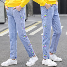 Spring Autumn Children Jeans For Teen Girls Butterfly Print Trousers Skinny Pencil Pants Casual Style Teenagers Clothes 4-14Yrs