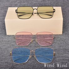 Sunglasses Women Frames Square New-Fashion Original Brand UV400 Alloy with Case Wind-Wind