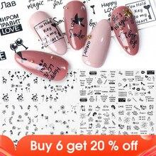 12 Stuks Water Transfer Sliders Vlinder Bloem Letters Stickers Voor Nagels Manicure Wit Zwart Meisje Wraps Decoratie JIA1513 1524