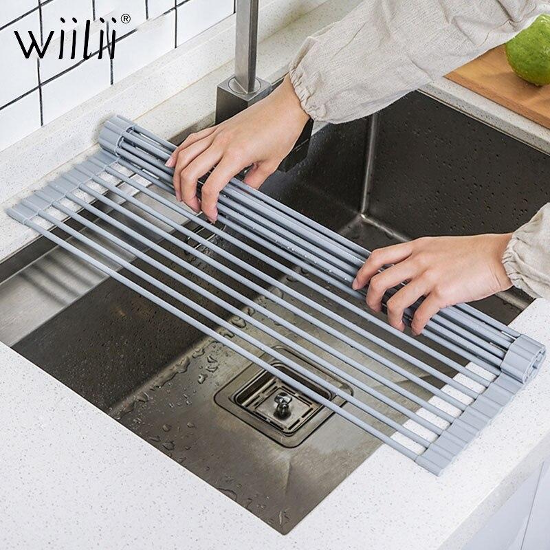 Wiilii Teller Trocknen Rack Faltbare Drain Rack Rollbar Waschbecken Wasser Control Edelstahl Trocknen Matte Obst Gemüse Rinser auf title=