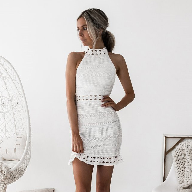 Lossky Sexy Lace Stitching Hollow Out Dress Elegant Women Sleeveless White Summer Chic Short Club Party Clothes Dresses 2020 1
