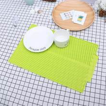 Non-slip Silicone Insulation Pad Rectangle Drying Mat Kitchen Dish Plate Drain Tray (Green)(China)