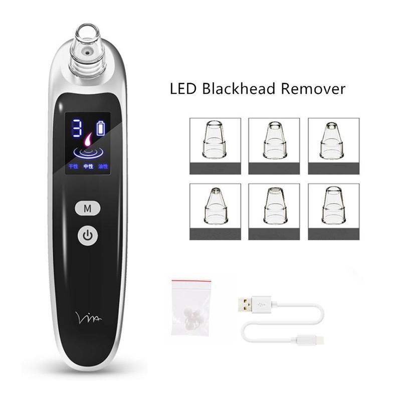 Electric Acne Blackhead Vacuum Cleaner Pore Skin Care Tools Nose Face Deep Cleansing Suction Machine With 6 Head Beauty Care