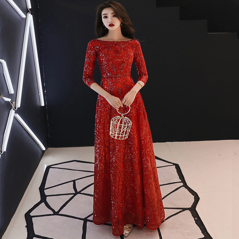 VESHJA DASMES Robe De Soiree Formal Evening Dress Wine Red O-neck Half Sleeve Floor-length Lace Sequin Evening Gown