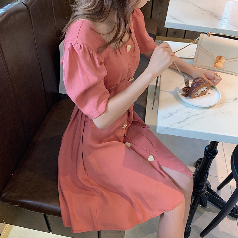 Mishow Women Strap Hight Waist Pink Mid-length Dress 2019 Causal Square Collar Short Sleeves With Belt Dress MX19B1936