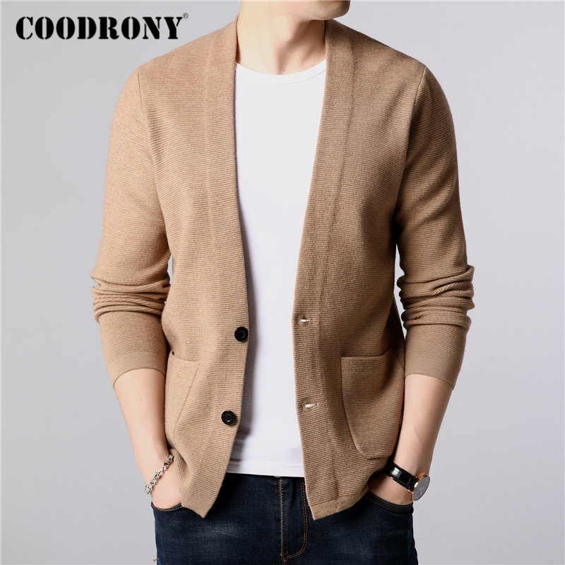 COODRONY Coat Men Sweater Wool-Cardigan Cashmere Winter Streetwear Autumn Fashion Pockets