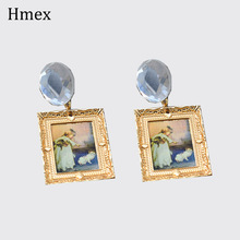 Geometric Vintage Oil Painting Earrings for women big gem Crystal Acetate Earrings personality Party Jewelry Gift pair of delicate geometric faux gem earrings for women