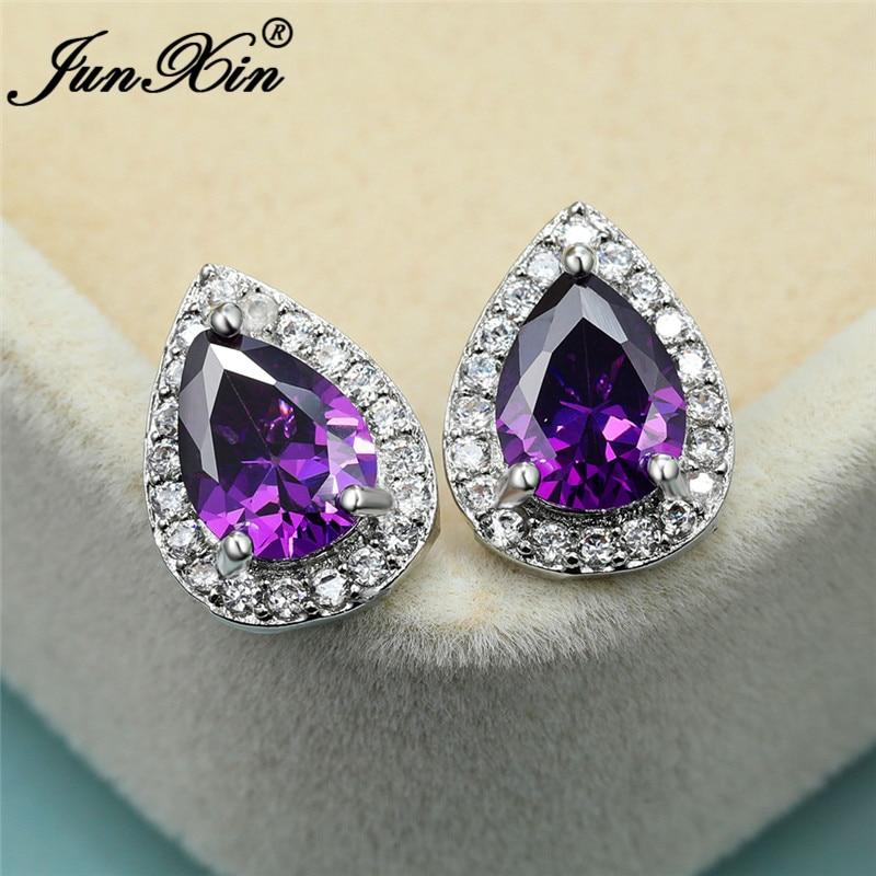 Charm Purple Crystal Teardrop Stud Earrings For Women Silver Color Water Drop Stone Zircon Wedding Ear Studs Lovers Jewelry