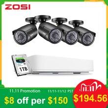 ZOSI 4 قناة HD 5MP 4 في 1 AHD CVBS CVI TVI للرؤية الليلية الأمن كشف نظام الكاميرا الفيديو مع CCTV كاميرا مصغرة DVR عدة