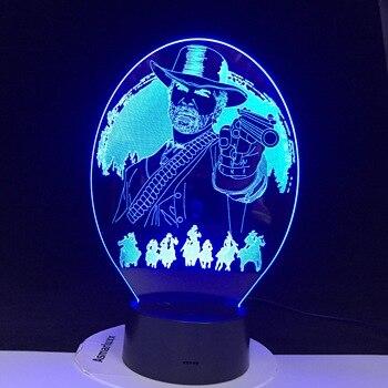 Lamparas de luz de noche con USB para regalo de Navidad, decoración para el hogar, lámpara Led en 3D