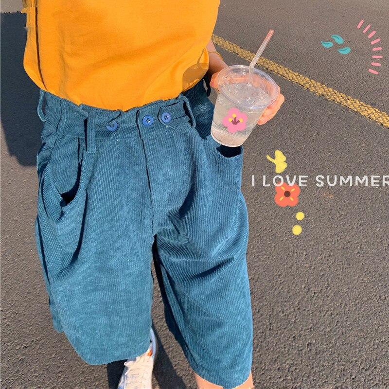 Drop Shipping Six Colors Korean Button Pockets Women Corduroy Straight Shorts Streetwear Chic Loose Female Shorts Feminino 2019