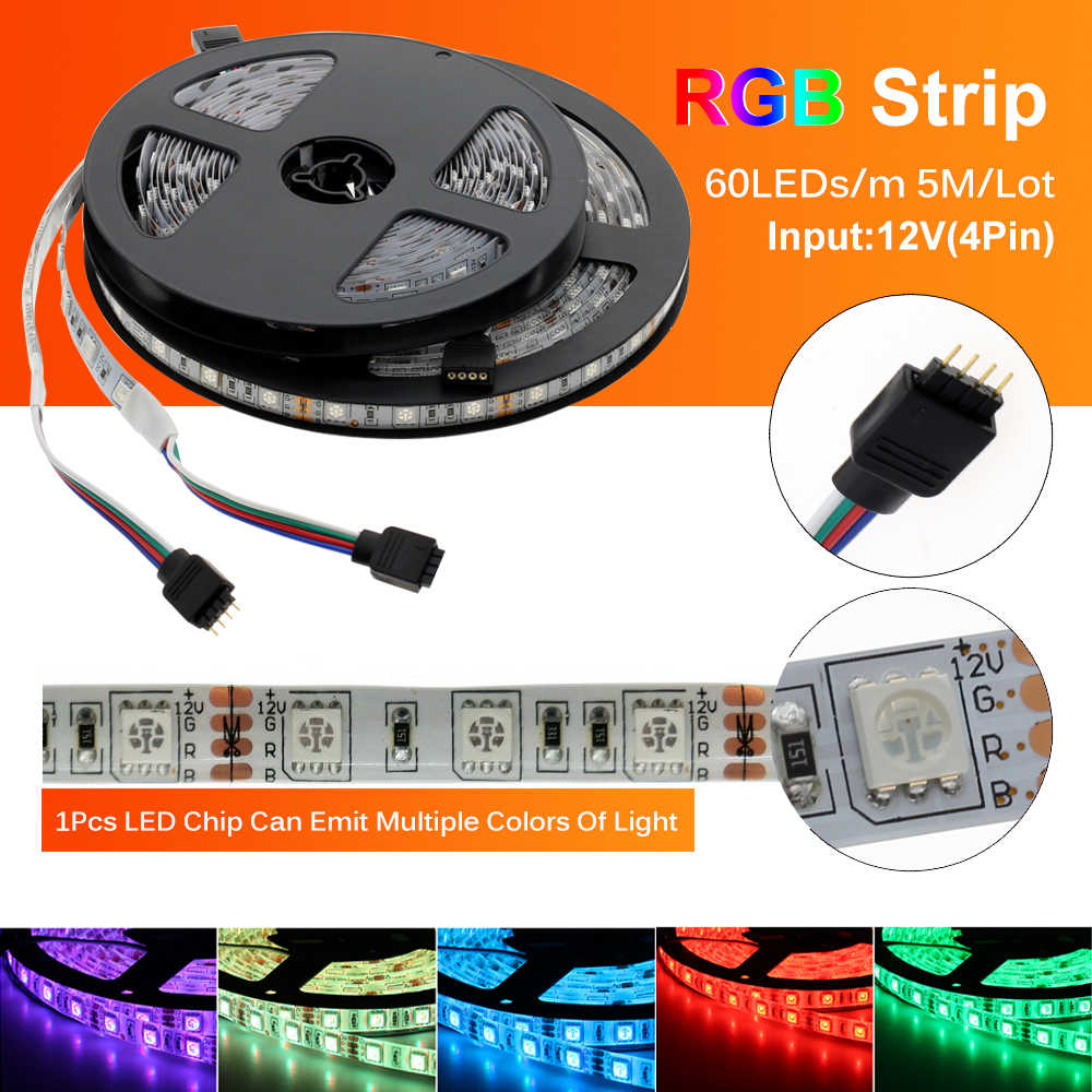 Tira de luces LED 5050 DC12V, 60LEDs/m, Flexible, RGB RGBW 5050, tira de LED 300LEDs 5 m/lote