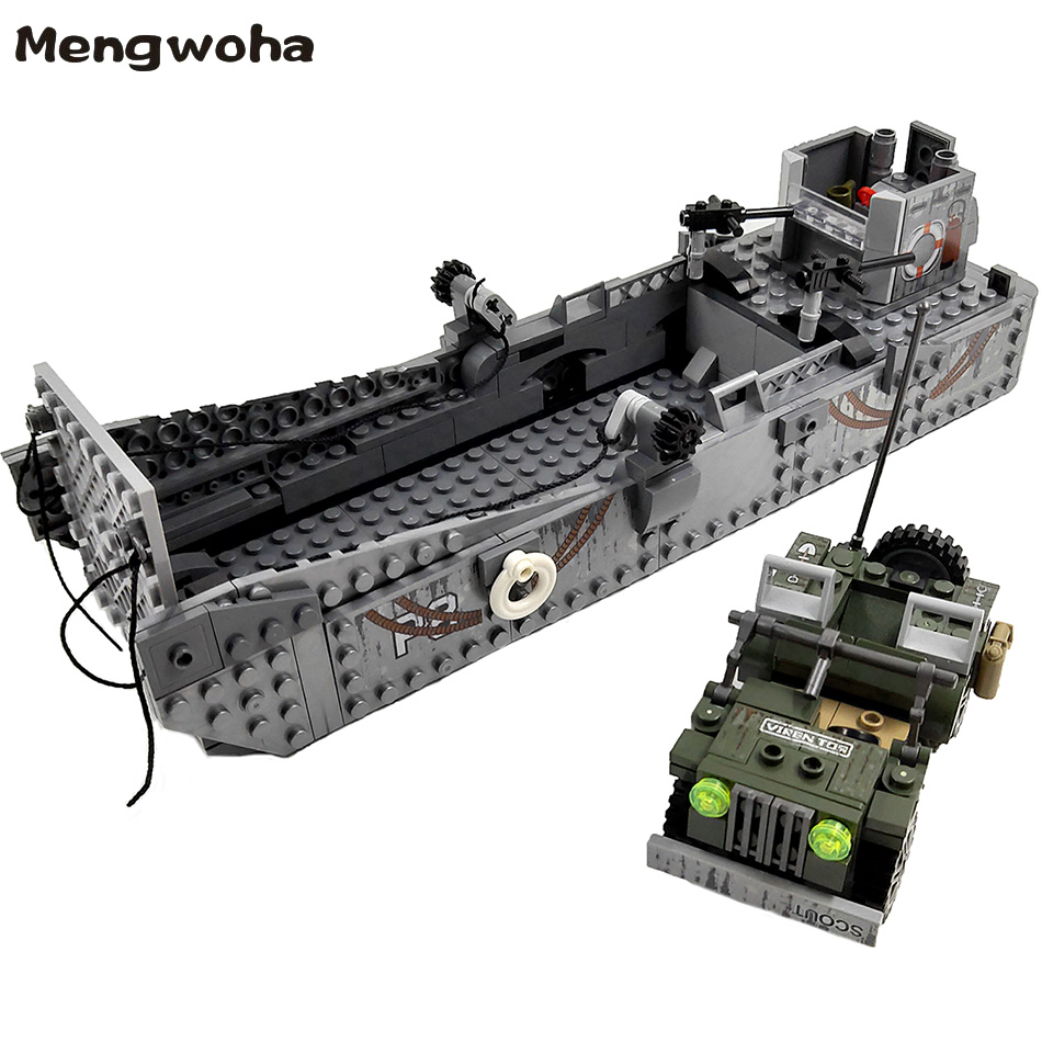 413pcs WW2 Army Building Blocks USA LCM3 Landing Ship Military Battleship bricks With 6 soldier figures model Toys for childrenBlocks   -