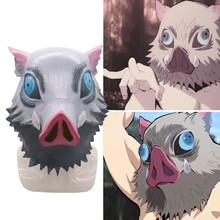 Anime Demon Slayer: Kimetsu no Yaiba Hashibira Inosuke Latex Mask Cosplay Masks Halloween Prop