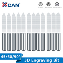 XCAN PCB V Shape Engraving Bits 10pcs 45/60/90 Degrees 3D CNC Router Bit 3.175mm Shank PCB Carving Milling Tools