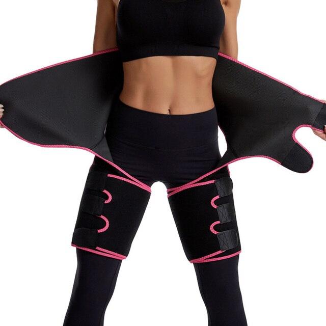 3 in 1 Women Neoprene Sweat Waist Trainer Thigh Support Waist Trimmer Belt for Women Tummy Control Waist Trainer Sweat Shapewear 3