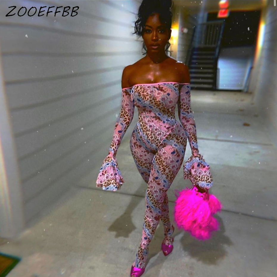 ZOOEFFBB Sexy Fashion Print Off Shoulder Backless Bodycon Jumpsuit Summer Clother One Piece Club Outfits Rompers Womens Jumpsuit