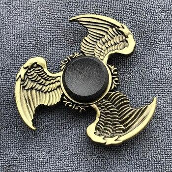 Fidget Spinner Brass Color Zinc Alloy Metal Hand Spinner Dice Bauhinia Rudder Exterior Smooth Finger Tri Spiner Gyro Toy For Kid three blade alloy abs fidget spinner
