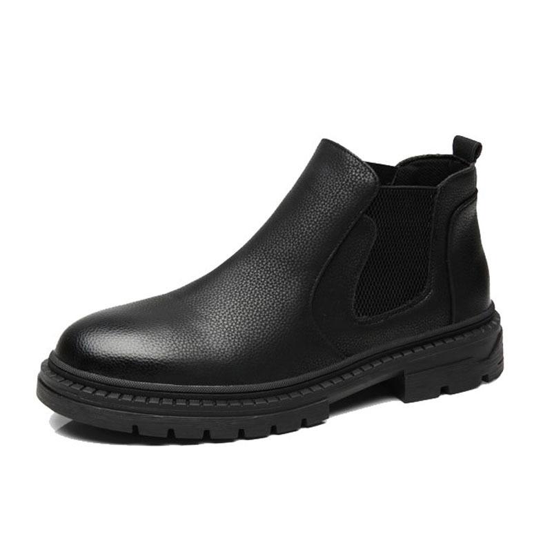 Мужские повседневные деловые официальные платья, ботинки челси, осенне-зимняя обувь, Черные ботильоны на платформе