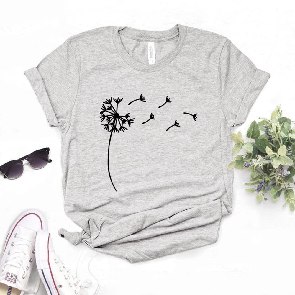 Wildflower Dandelion Print Women tshirt Cotton Casual Funny t shirt Gift For Lady Yong Girl Top Tee 2