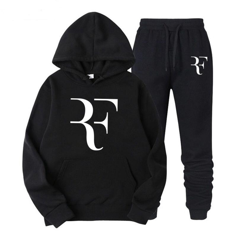 Fashion Roger Federer RF Hoodies Tracksuit Men/Women Sweatshirts+Sweatpants Suits 2018 harajuku Hooded Pullover Hoodie