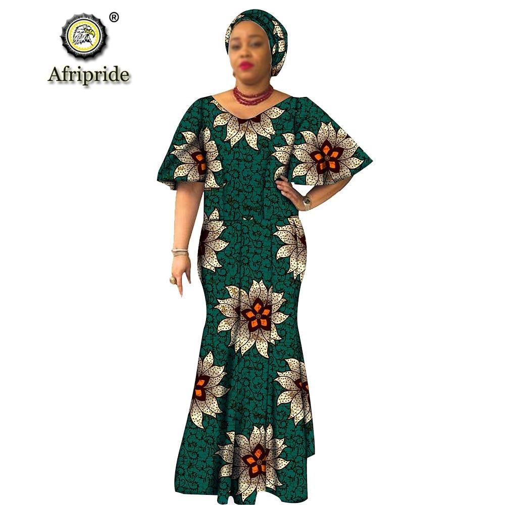 African traditional maxi dresses for women plus size dashiki dress+headwrap ankara print wax batik vintage AFRIPRIDE S1925054