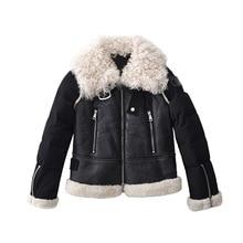 Nuevo abrigo de piel de merino de invierno Chaqueta corta de piel de cordero para mujer 100% chaqueta de cuero