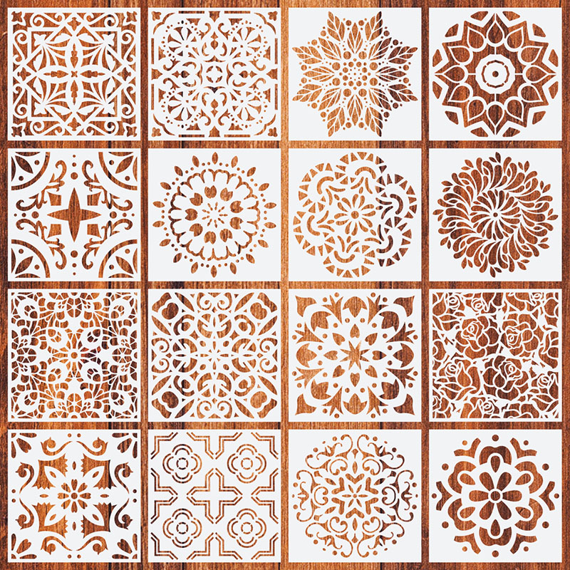 New Design 16 Types Mandala Stencil DIY Lasering Craft Painting Template Drawing For Home Decoration Background Furniture