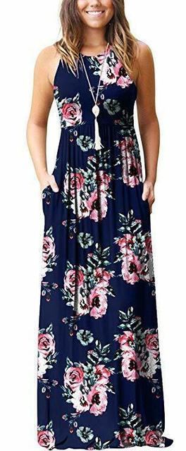 Ketuan Home Dresses for Women Casual Plus Size Printed Sleeveless V-Neck Camisole Summer Party Cami Long Dress Loose Beach Dress for Lady