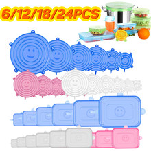 6/12/18/24 Pcs Food Silicone Cover Universal Silicone Stretch Lids Cookware Reusable Microwave Wrap Seal Cover Kitchen Stoppers