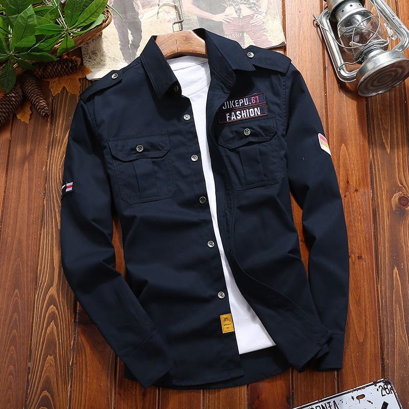 2019 Military Slim Cotton Shirt For Men Navy Blue Long Sleeve Green Khaki Casual Slim Fit Vintage Jacket Streetwear M - 5XL